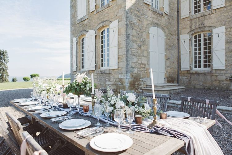 Tablescape with Decor by The Wedding of My Dreams | L'heure Opulente - Laid Back French Chic, Paired with Elegant British Twists by Simply Pergord Weddings at Le Jardin à La Française Chateau | Mathilde Dufraisse Photography