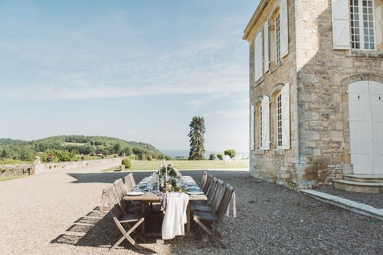 Outdoor Tablescape | L'heure Opulente - Laid Back French Chic, Paired with Elegant British Twists by Simply Pergord Weddings at Le Jardin à La Française Chateau | Mathilde Dufraisse Photography