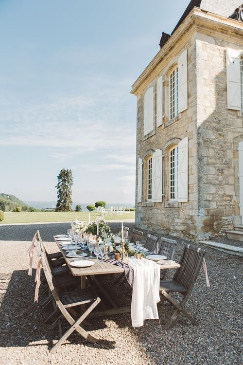 Outdoor Tablescape with Decor by The Wedding of My Dreams | L'heure Opulente - Laid Back French Chic, Paired with Elegant British Twists by Simply Pergord Weddings at Le Jardin à La Française Chateau | Mathilde Dufraisse Photography