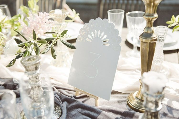 Table Numbers by The Wedding of My Dreams | L'heure Opulente - Laid Back French Chic, Paired with Elegant British Twists by Simply Pergord Weddings at Le Jardin à La Française Chateau | Mathilde Dufraisse Photography