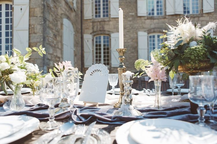 Wedding Reception Table Decor by The Wedding of My Dreams | L'heure Opulente - Laid Back French Chic, Paired with Elegant British Twists by Simply Pergord Weddings at Le Jardin à La Française Chateau | Mathilde Dufraisse Photography