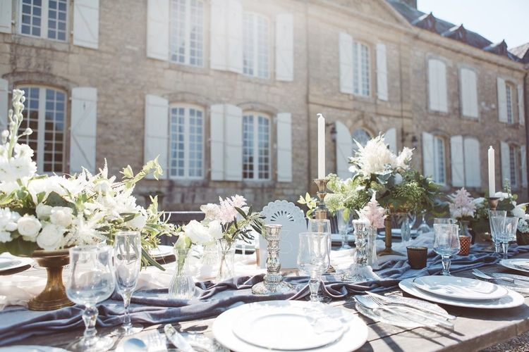 Wedding Reception Table Centrepieces by The Wedding of My Dreams | L'heure Opulente - Laid Back French Chic, Paired with Elegant British Twists by Simply Pergord Weddings at Le Jardin à La Française Chateau | Mathilde Dufraisse Photography