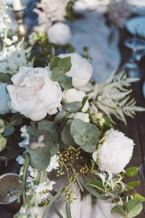 White & Green Floral Garland | L'heure Opulente - Laid Back French Chic, Paired with Elegant British Twists by Simply Pergord Weddings at Le Jardin à La Française Chateau | Mathilde Dufraisse Photography
