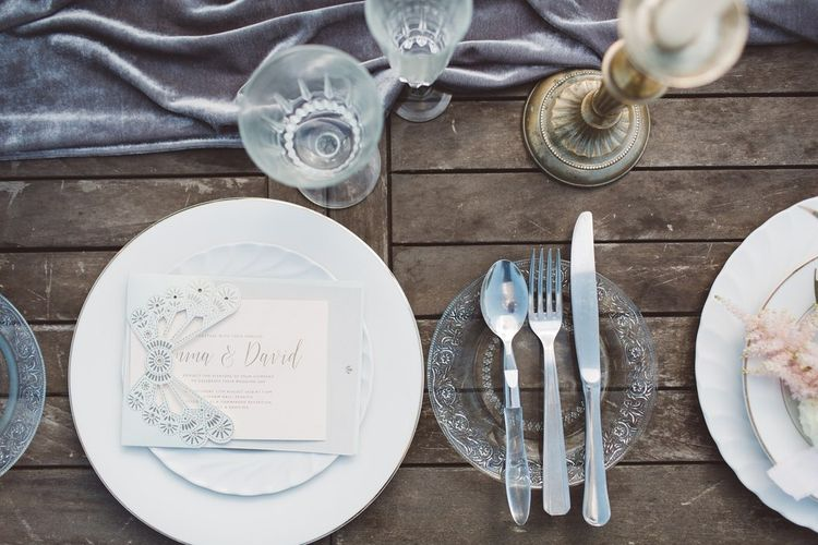 Elegant Place Setting with Candlesticks & Clear Glass Side Plates | L'heure Opulente - Laid Back French Chic, Paired with Elegant British Twists by Simply Pergord Weddings at Le Jardin à La Française Chateau | Mathilde Dufraisse Photography