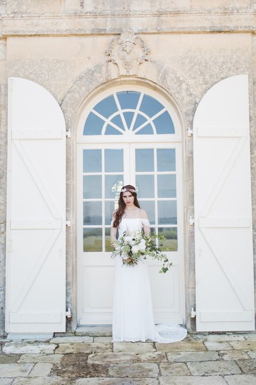 Bride in Bardot Off The Shoulder Wedding Dress  | L'heure Opulente - Laid Back French Chic, Paired with Elegant British Twists by Simply Pergord Weddings at Le Jardin à La Française Chateau | Mathilde Dufraisse Photography
