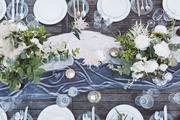 Velvet Table Runner & Table Decor | L'heure Opulente - Laid Back French Chic, Paired with Elegant British Twists by Simply Pergord Weddings at Le Jardin à La Française Chateau | Mathilde Dufraisse Photography