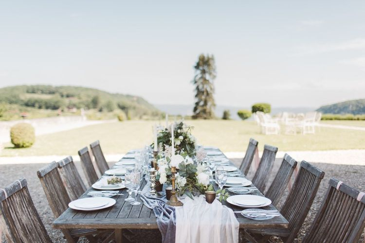 Elegant Tablescape | L'heure Opulente - Laid Back French Chic, Paired with Elegant British Twists by Simply Pergord Weddings at Le Jardin à La Française Chateau | Mathilde Dufraisse Photography