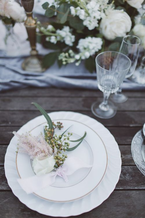 Elegant Place Setting | L'heure Opulente - Laid Back French Chic, Paired with Elegant British Twists by Simply Pergord Weddings at Le Jardin à La Française Chateau | Mathilde Dufraisse Photography