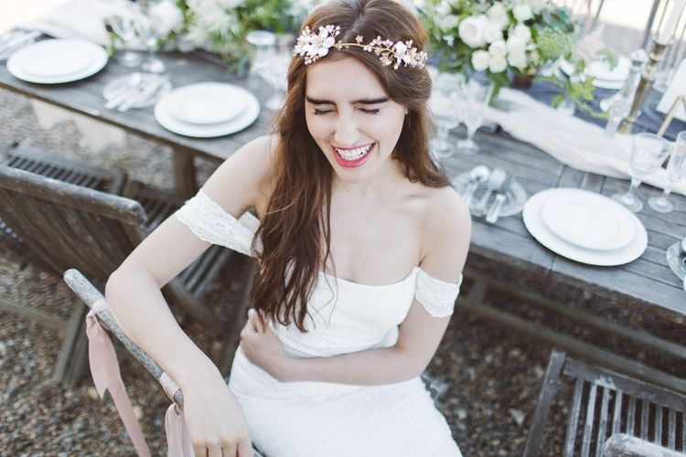 Bardot Off The Shoulder Bridal Gown & Hermione Harbutt Gold Vine Headdress | L'heure Opulente - Laid Back French Chic, Paired with Elegant British Twists by Simply Pergord Weddings at Le Jardin à La Française Chateau | Mathilde Dufraisse Photography