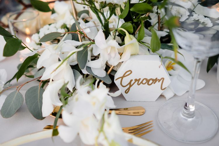 Geometric Floral Details For Wedding // Pampas Grass Altar For A Glamorous Thailand Destination Wedding Planned By The Wedding Bliss Thailand With Images From Liam Collard Photography