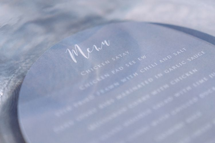 Pale Grey Wedding Menu // Pampas Grass Altar For A Glamorous Thailand Destination Wedding Planned By The Wedding Bliss Thailand With Images From Liam Collard Photography