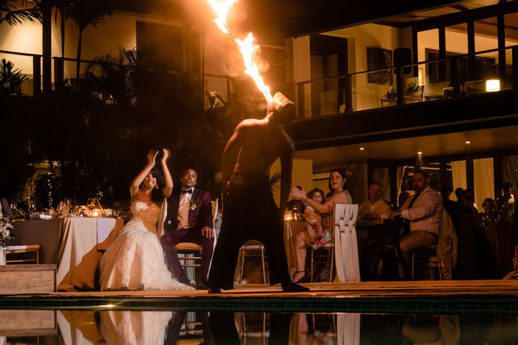 Fire Eater At Destination Wedding Thailand // Pampas Grass Altar For A Glamorous Thailand Destination Wedding Planned By The Wedding Bliss Thailand With Images From Liam Collard Photography
