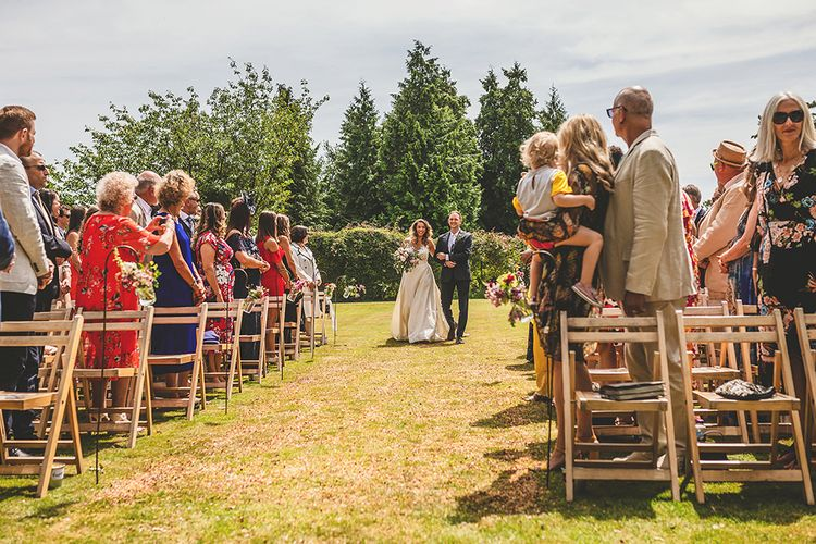 Wedding Ceremony | Bridal Entrance in Separates | Pennard House Outdoor Country Garden Wedding | Howell Jones Photography