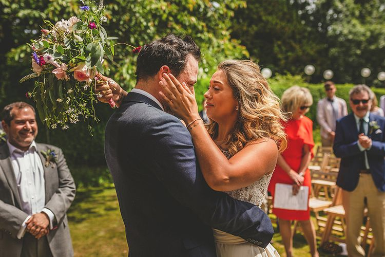 Wedding Ceremony | Bride in Separates | Groom in Navy Suit | Pennard House Outdoor Country Garden Wedding | Howell Jones Photography