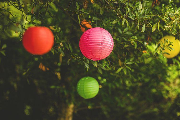 Coloured Lanterns Wedding Decor | Pennard House Outdoor Country Garden Wedding | Howell Jones Photography
