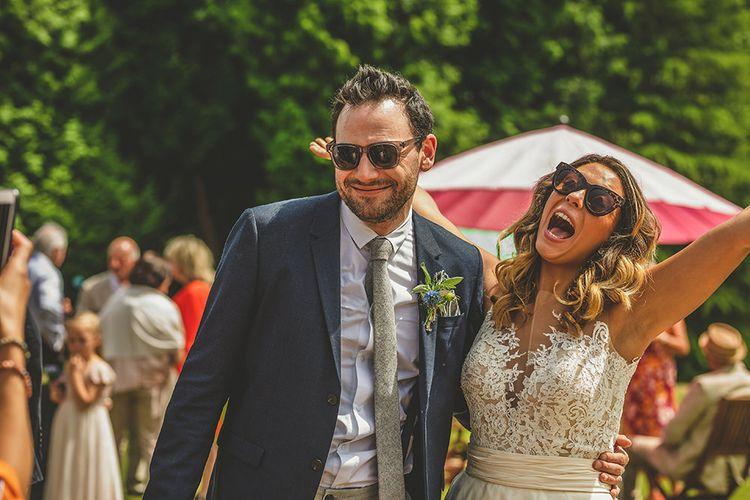Bride in Separates | Helena Fortley Lace Top | Groom in Navy Suit | Pennard House Outdoor Country Garden Wedding | Howell Jones Photography