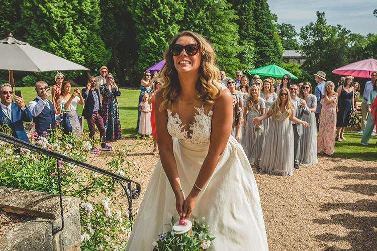 Bouquet Toss | Bride in Separates | Helena Fortley Lace Top | Pennard House Outdoor Country Garden Wedding | Howell Jones Photography
