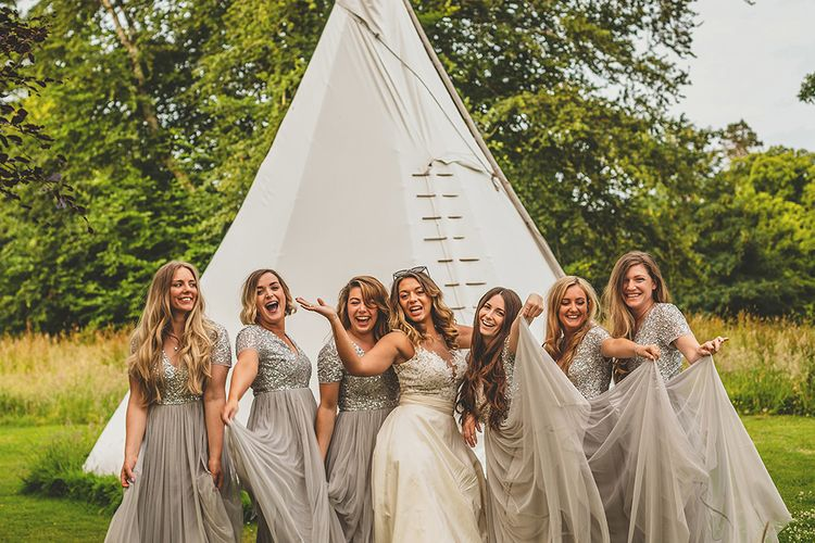 Bridal Party | Bridesmaids in Sequin & Tulle Maya Dresses | Bride in Separates | Helena Fortley Lace Top | Pennard House Outdoor Country Garden Wedding | Howell Jones Photography