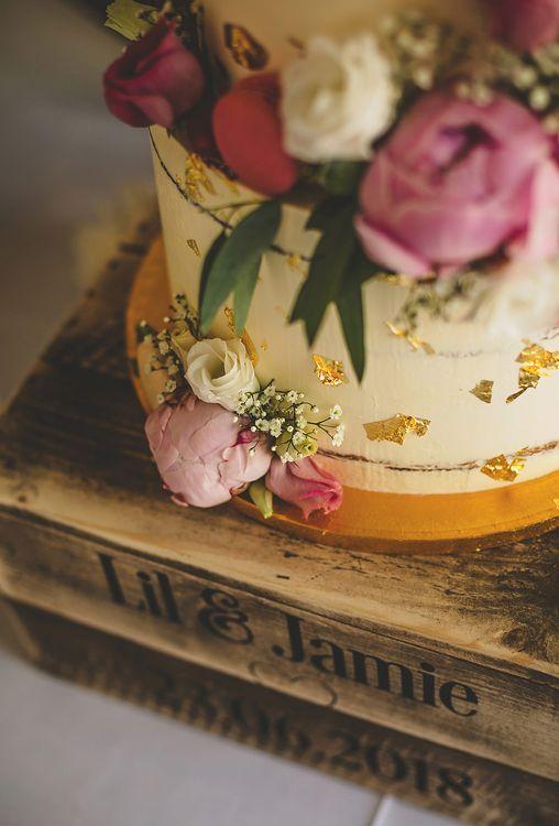 Pink Peony Flowers | Gold Leaf Decor Wedding Cake | Pennard House Outdoor Country Garden Wedding | Howell Jones Photography