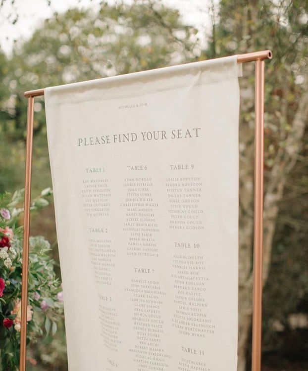 Linen Table Plan With Printed Details From Bureau Design For Jenna Hewitt Wedding // Image By M&J Photography