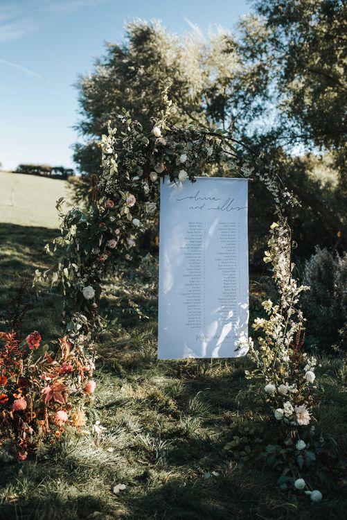 Linen Printed Table Plan For Wedding // Natalie Hewitt Wedding Planner //