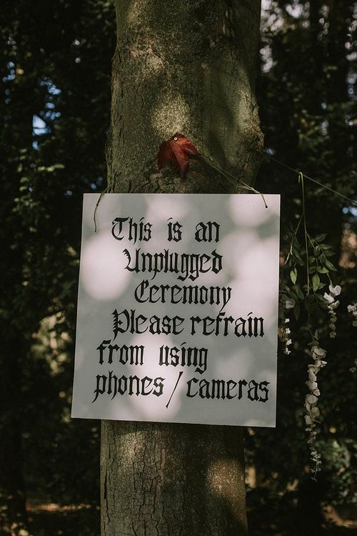 Unplugged Wedding Ceremony Sign | Autumnal Scottish Woodland Wedding at Fernie Castle | Maureen Du Preez Photography