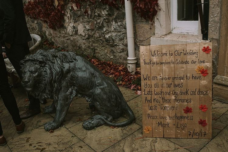 Wooden Welcome Wedding Sign | Autumnal Scottish Woodland Wedding at Fernie Castle | Maureen Du Preez Photography