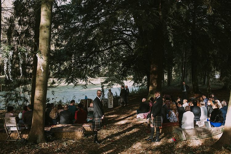 Wedding Ceremony | Autumnal Scottish Woodland Wedding at Fernie Castle | Maureen Du Preez Photography