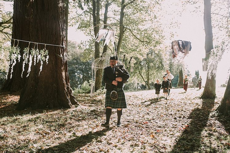 Bag Pipes | Autumnal Scottish Woodland Wedding at Fernie Castle | Maureen Du Preez Photography