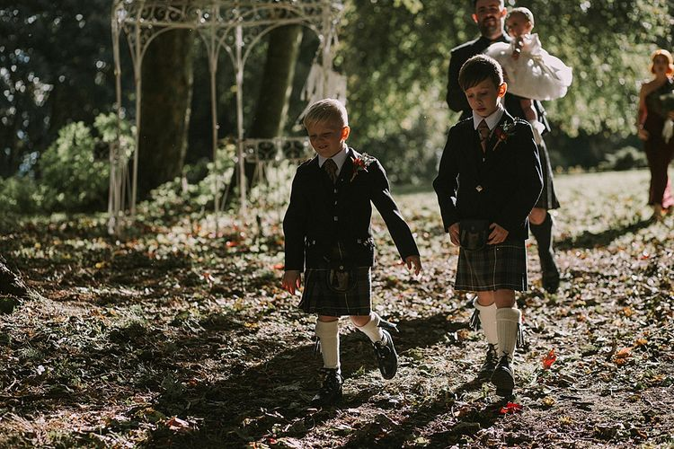Wedding Party Ceremony Entrance | Autumnal Scottish Woodland Wedding at Fernie Castle | Maureen Du Preez Photography