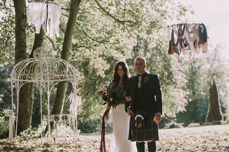Bridal Entrance in Enzoani Bridal Gown | Autumnal Scottish Woodland Wedding at Fernie Castle | Maureen Du Preez Photography