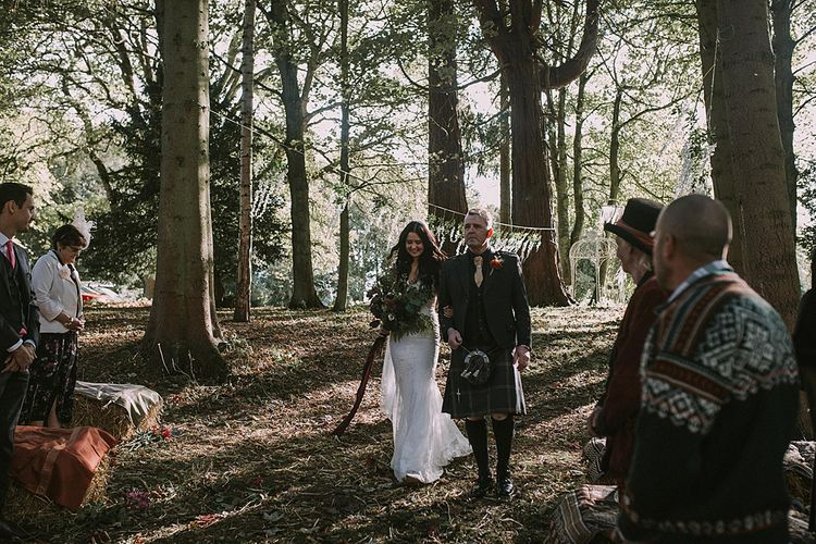 Wedding Ceremony | Bridal Entrance in Enzoani Wedding Dress | Autumnal Scottish Woodland Wedding at Fernie Castle | Maureen Du Preez Photography