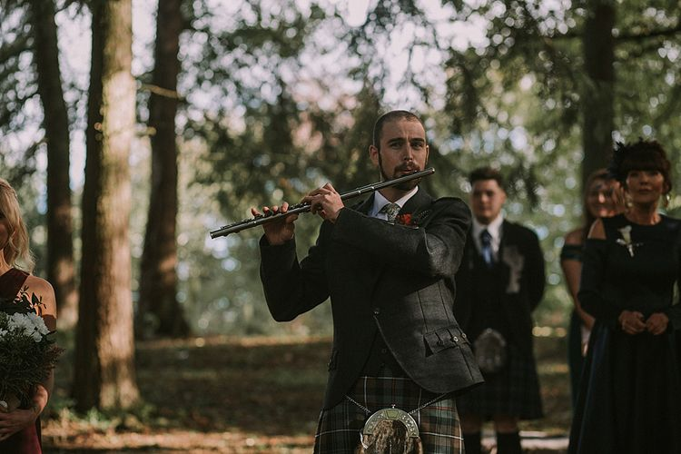 Wedding Ceremony | Flute Entrance | Autumnal Scottish Woodland Wedding at Fernie Castle | Maureen Du Preez Photography