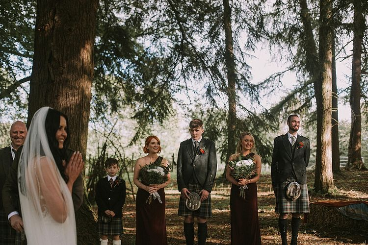 Wedding Ceremony | Wedding Party | Autumnal Scottish Woodland Wedding at Fernie Castle | Maureen Du Preez Photography