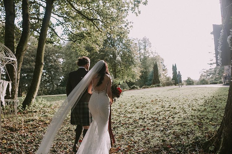 Bride in Enzoani Gown | Groom in Tartan Kilt | Autumnal Scottish Woodland Wedding at Fernie Castle | Maureen Du Preez Photography