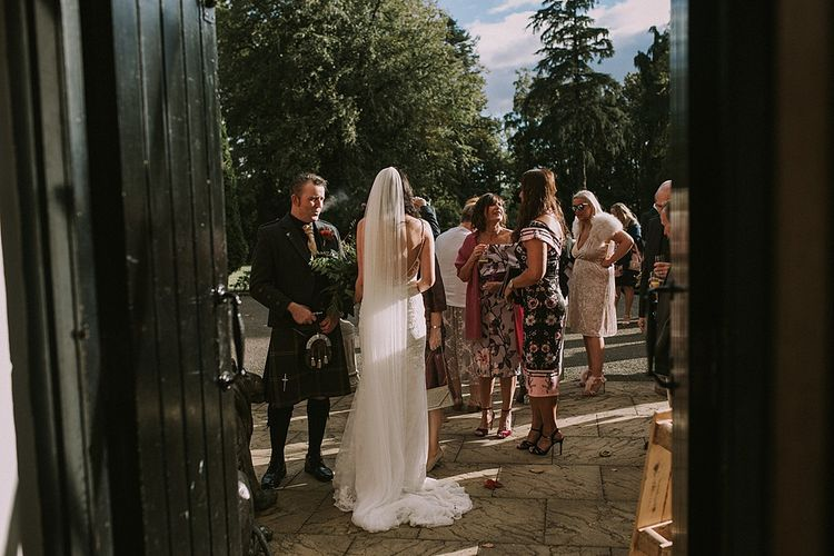 Bride in Enzoani Gown & Richard Designs Veil | Autumnal Scottish Woodland Wedding at Fernie Castle | Maureen Du Preez Photography