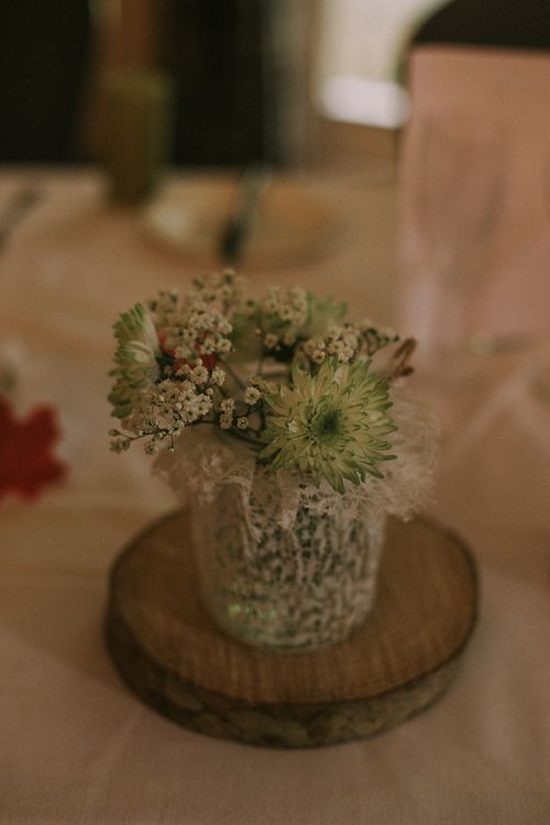 Flower Stems in Vases on Wood Slices | Wedding Decor | Autumnal Scottish Woodland Wedding at Fernie Castle | Maureen Du Preez Photography