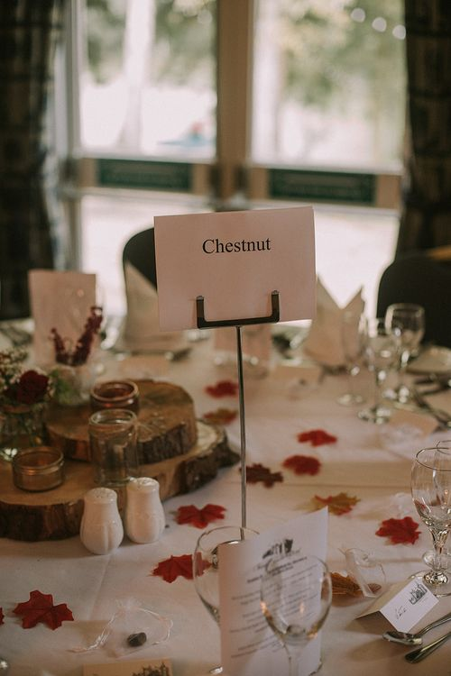 Wedding Table Decor | Autumnal Scottish Woodland Wedding at Fernie Castle | Maureen Du Preez Photography