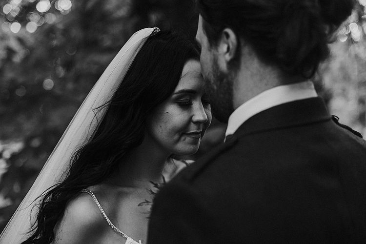 Romantic Portrait | Bride in Enzoani Gown | Groom in Tartan Kilt | Autumnal Scottish Woodland Wedding at Fernie Castle | Maureen Du Preez Photography