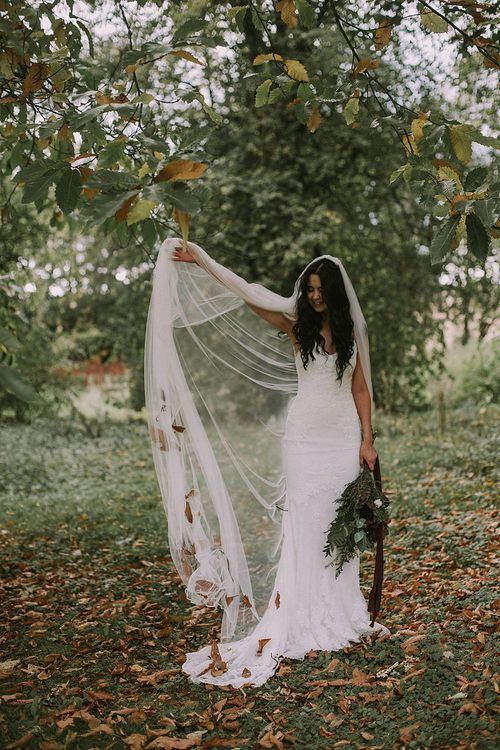 Bride in Enzoani Gown & Richard Designs Cathedral Length Veil | Autumnal Scottish Woodland Wedding at Fernie Castle | Maureen Du Preez Photography