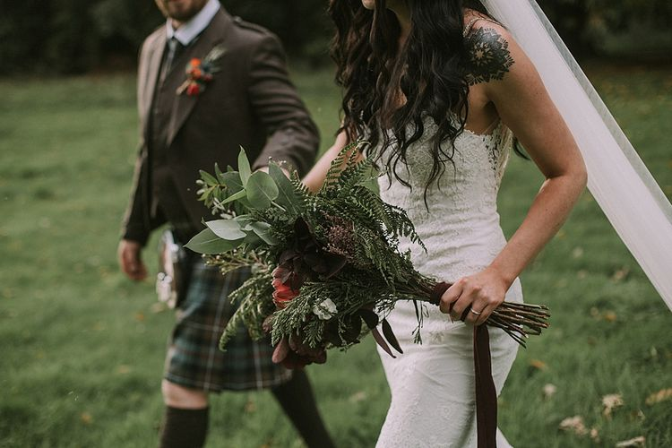 Boho Bride in Enzoani Gown | Groom in Tartan Kilt | Autumnal Scottish Woodland Wedding at Fernie Castle | Maureen Du Preez Photography