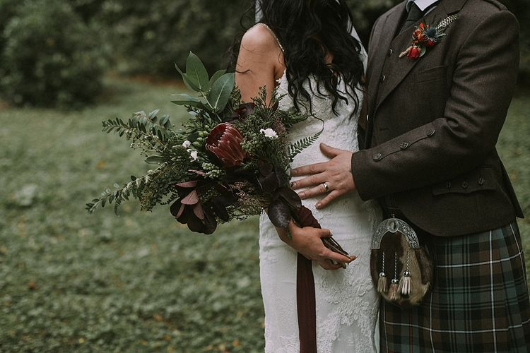 Stylish Bride in Enzoani Gown | Groom in Tartan Kilt | Autumnal Scottish Woodland Wedding at Fernie Castle | Maureen Du Preez Photography