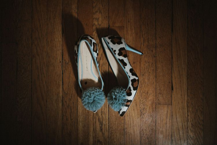 Blue Pom Pom Charlotte Olympia Wedding Shoes // James Frost Photography