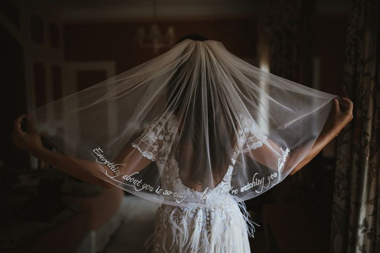 Song Lyrics Embroidered On Veil By Hermione De Paula // James Frost Photography