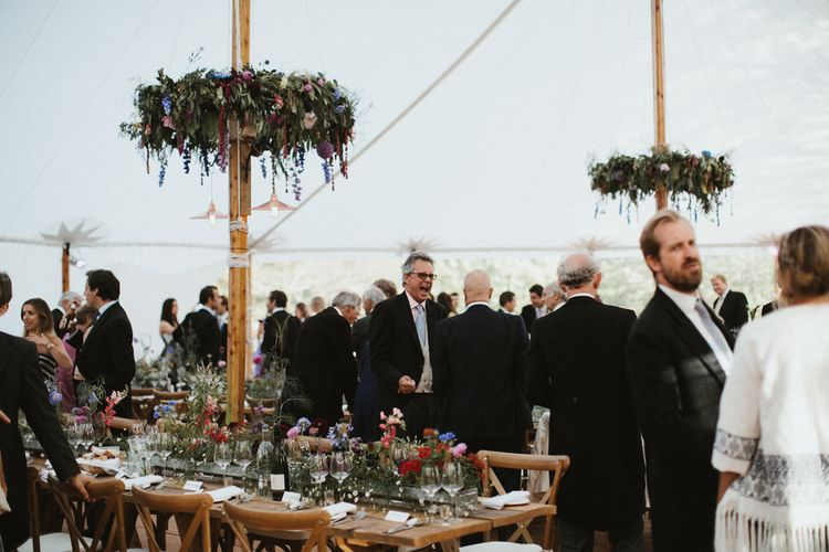 Living Floral Runners For Sailcloth Tent Wedding // James Frost Photography