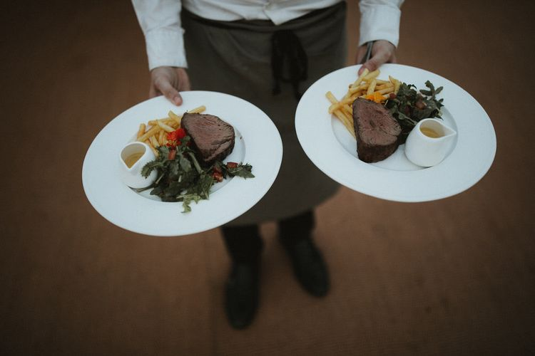 Steak And Chips Wedding Food // James Frost Photography