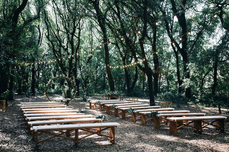 Outdoor Wedding Ceremony Decor | Fairy Light Moon Gate Altar | Festoon Lights | Puglian Countryside Wedding with Fairy Light Altar and Olive Grove Aperitivo | Figtree Wedding Photography