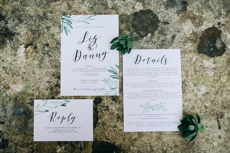Wedding Invitation Suite from Etsy | Puglian Countryside Wedding with Fairy Light Altar and Olive Grove Aperitivo | Figtree Wedding Photography