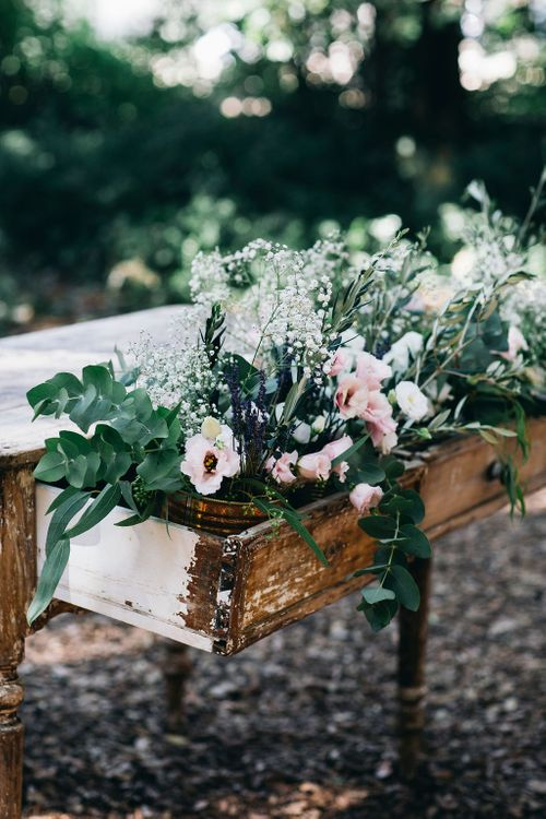 Outdoor Wedding Ceremony Decor | Registry Table Decorated with Huge Floral Display of Pink Flowers, White Flowers and Greenery | Puglian Countryside Wedding with Fairy Light Altar and Olive Grove Aperitivo | Figtree Wedding Photography
