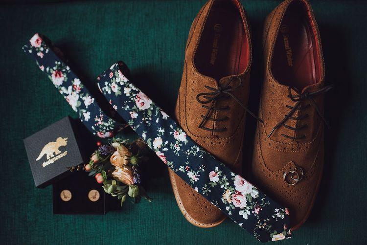 Grooms accessories and brown shoes at Forde Abbey wedding